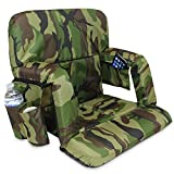 KHOMO GEAR Stadium Bleacher and Bench Seat Chair with Padded Reclining Cushion and Armrest and Carry Straps - Camo