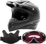Adult Snocross Snowmobile Helmet & Goggle Combo - Matte Black , Carbon Fiber Print ( Large )