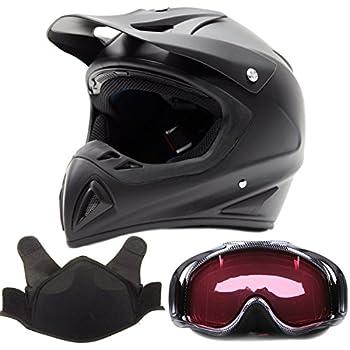 Adult Snocross Snowmobile Helmet & Goggle Combo - Matte Black, Carbon Fiber Print (Medium)