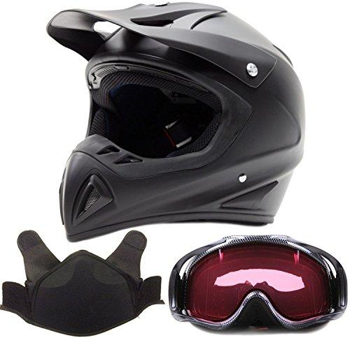 Adult Snocross Snowmobile Helmet & Goggle Combo - Matte Black, Carbon Fiber Print (Large)