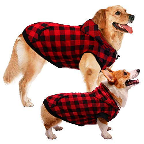 ASENKU Dog Winter Coat Thicker Fleece Dog Hoodie Jacket British Plaid Pet Warm Outfit with Removable Hat Windproof Vest for Small Medium Large Dogs (4XL, Red)