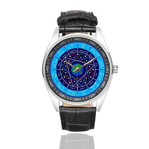 InterestPrint Zodiac Signs Men's Fasion Watches Waterproof Leather Strap Wrist Watch (Zodiac Watch)