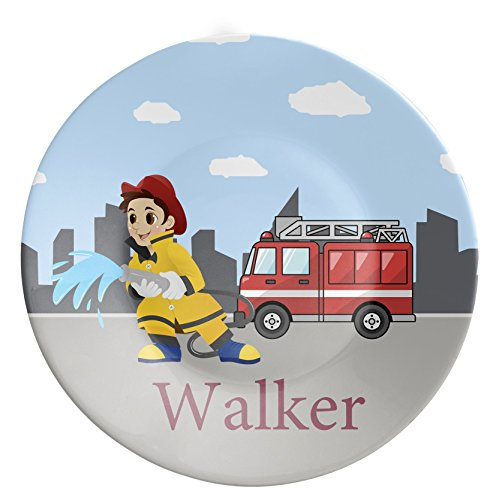 FireTruck Plate - Fireman Dinner Plate, Black Stars, Red Fire Truck Engine Melamine Personalized Plate - Kids Personalized Gift