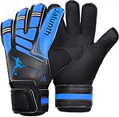 Jalunth Kids Youth Adults Soccer Goalkeeper Goalie Gloves  Our finger guards are good enough to withstand powerful shots without injuring the hand, if the ball is caught at the tip of the fingers and it's a strong shot, then it'll hurt, but w...