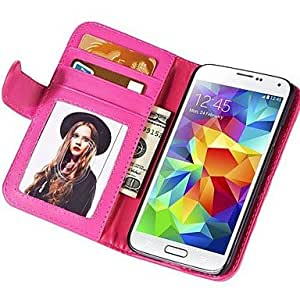 YULIN Soft Touch Wallet PU Leather Case for Samsung Galaxy S5 MINI , Red