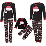 Family Matching Pajamas Sets Christmas Pajamas Outfit Cartoon Hat Print Holiday Clothes PJ Sets Mom Dad Kids Sleepwear