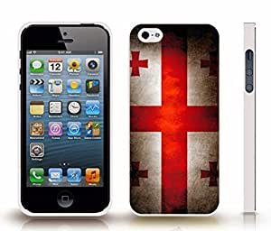 iStar Cases? iPhone 4 Case with Georgia Flag Vintage Grunge Look Design , Snap-on Cover, Hard Carrying Case (White)
