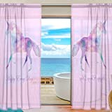 ZOEO 2 Piece Unicorn Sheer Curtains Window Door Curtains Drape Panels Treatment for Bedroom living room 55''W X 78''L