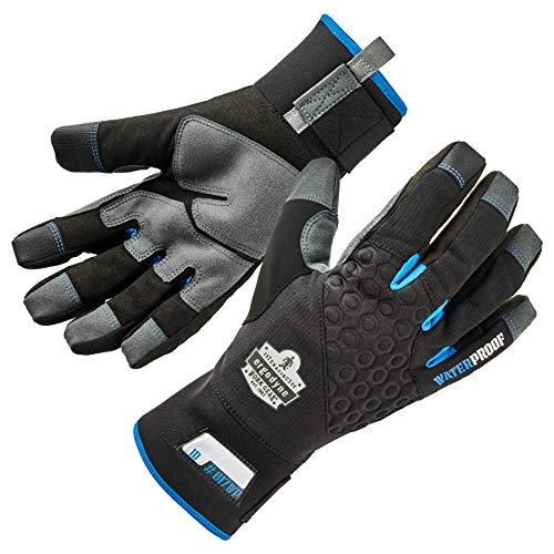 (Ergodyne ProFlex 817WP Reinforced Thermal Waterproof Insulated Work Gloves, Touchscreen Capable, Black, Large)