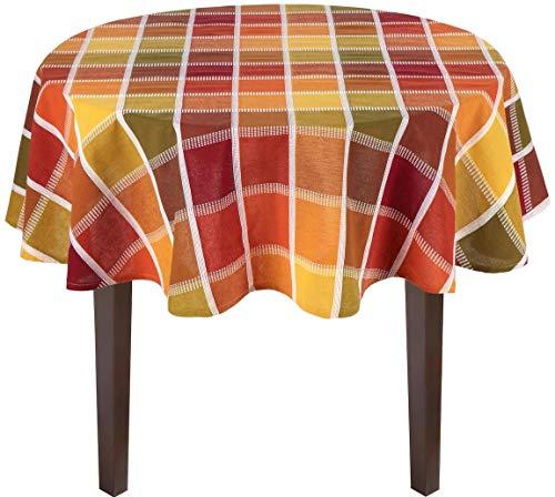- Harvest Fall Wonder Plaid Tablecloth Jacquard Fabric Top-Stitching (60 Round)