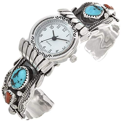 Old Pawn Turquoise Coral Silver Watch Cuff Sleeping Beauty Sterling Ladies Bracelet One-of-a-Kind 0068