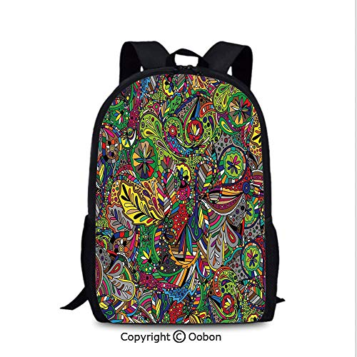 Personality Kids School Backpack, Funky Curly Detailed Ethnic Doodles Tangled Trippy Pyschedelic Botanical, School Bag :Suitable for Men and Women, School, Travel, Daily use, etc.Multicolor ()