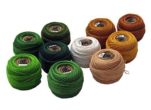 - Vog Perle Cotton Size 8 Embroidery Threads - Set of 10 Balls (10gr Each) - Green & Beige Shades (Column No. 6)