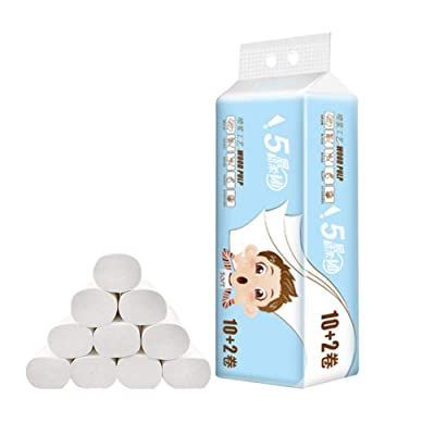 WAQIA HOUSE 12 Rolls Paper Towels Household Roll Paper Towel Natural Bamboo Family Toilet Paper, Soft and Comfy Napkins (White, 11.513cm): Kitchen & Dining