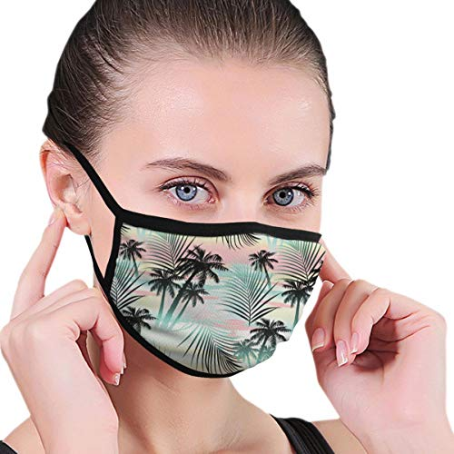 TRAVOTG Summer Season Palm Trees and Exotic Fern Leaves Mouth Mask,Unisex Mask Personality Print Anti-Pollen Mask Anti-dust and Anti-infective Polyester Face Mask Face-Fitting for Men and Women
