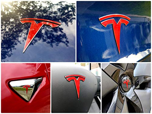 EV Wraps Tesla Model 3 Logo Decal Bundle (Gloss Red)