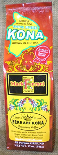 100% Pure Kona Coffee-All Purpose Ground, 12oz Bag