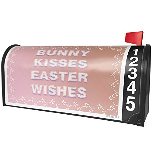 NEONBLOND Bunny Kisses Easter Wishes Bunny Border Magnetic Mailbox Cover Custom (Easter Bunny Borders)