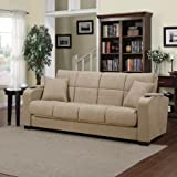 Tyler Tan Microfiber Storage Arm Convert-a-couch Sofa Sleeper Bed, Has a 3-position Click Style Hinge Which Allows You to Sit, Recline or Sleep Too Comfortably