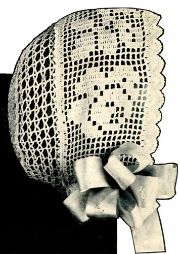Vintage Crochet PATTERN to make - Antique Baby Cap Hat Bonnet Filet Rose Design. NOT a finished item. This is a pattern and/or instructions to make the item only.