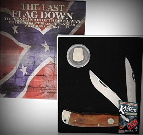 (New Rough Rider Civil War Series Bullet Last FlagBone Folding Blade Pro Tactical Elite Knife for Home Camping Hunting Rescue + free Ebook by ProTactical