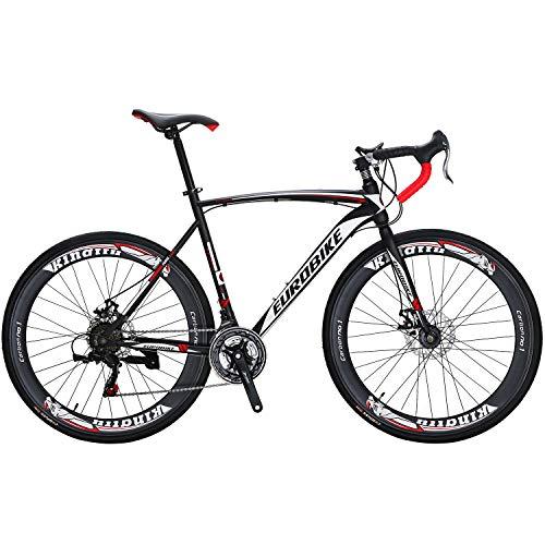 Eurobike Road Bike 700C Wheels 21 Speed Disc Brake Bicycle 54cm/Medium Frame Size (Aluminium Wheel 60)