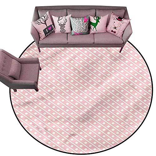 Kitchen Mat Pink,Diagonal Lines and Polka Dots Diameter 66