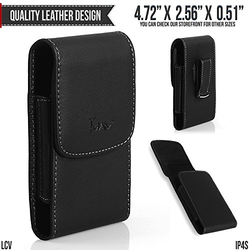 Sidekick Slide Holster - T-Mobile Sidekick Slide Belt Pouch, TMAN [Leather Vertical] Metal Clip Holster/Magnetic Closure Case, Cover with Belt Loop Carrying Protective - Fits Cellphone without any Case