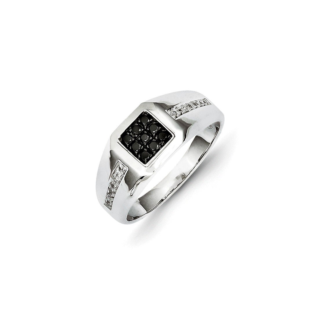 ICE CARATS 14k White Gold Black Diamond Square Mens Band Ring Size 9.75 Wedding Man Fine Jewelry Dad Mens Gift Set