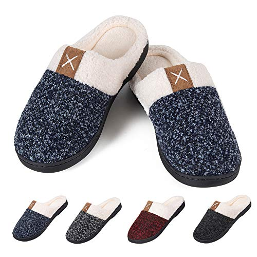 (Men's Warm Slippers Women's House Shoes Memory Foam Cozy Cotton Plush Fleece Lining Slip-on Home Shoes Indoor &)
