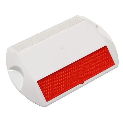 PrimeMatik - Reflector de carretera para suelo 115x81x17mm de plástico con reflector rojo y blanco