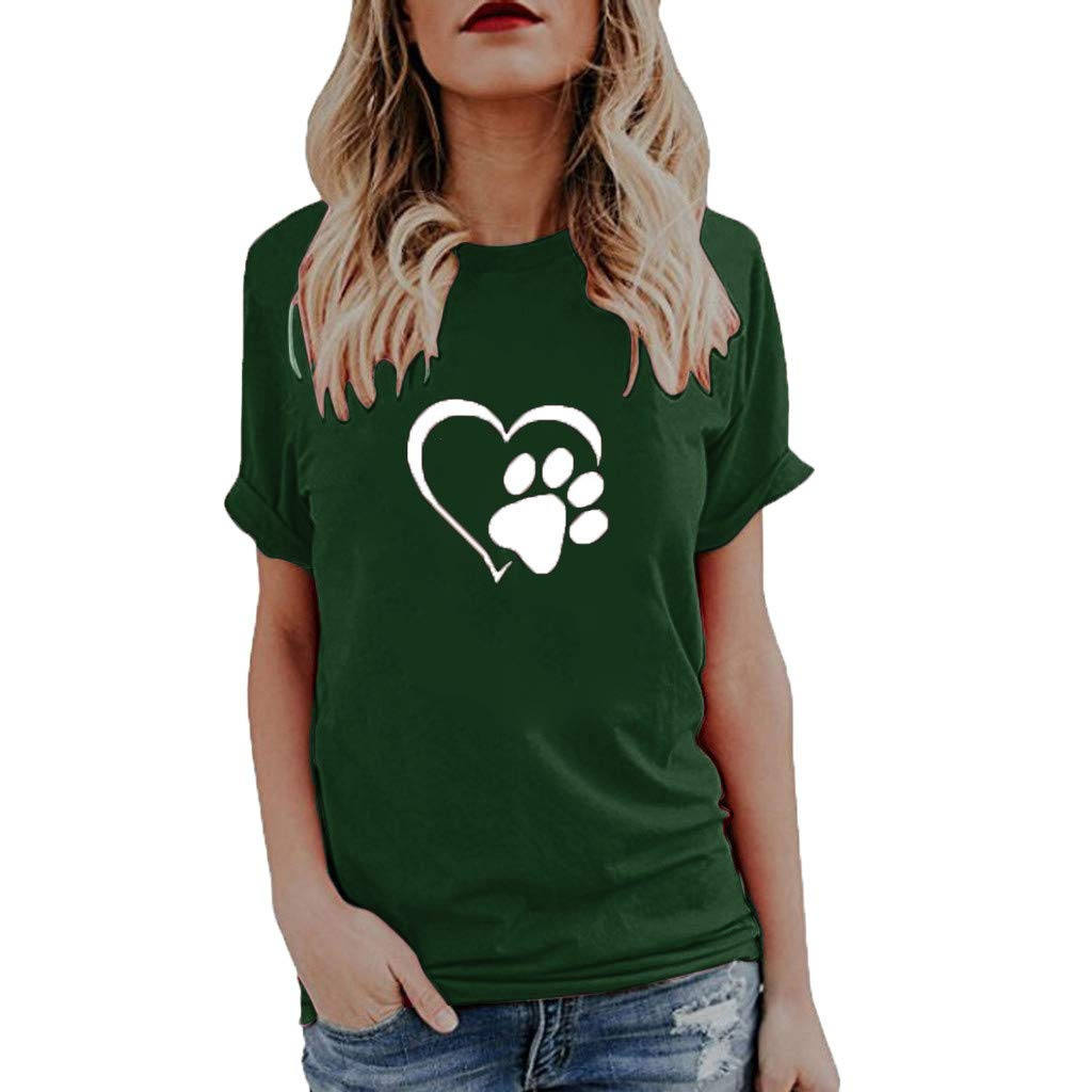 Willow S Womens 2019 Summer Fashion Sport Cute Print Tops O-Neck Short Sleeve Loose T-Shirts Tops Blouse Green