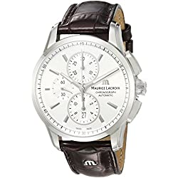 Maurice Lacroix Men's 'Pontos' Swiss Automatic Stainless Steel and Leather Casual Watch, Color:Brown (Model: PT6388-SS001-130-1)