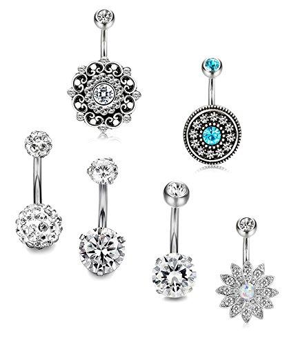 Udalyn 3-4Pcs 14G Stainless Steel Belly Button Rings Body Piercing Navel Piercing Jewelry for Women Girls (E:6Pcs Silver-Tone + Blue Flower)