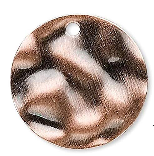 Hammered Copper Disc - 50 Antiqued Copper 16mm Hammered Round Disc Coin Charms Jewelry Making Charms and Pendants