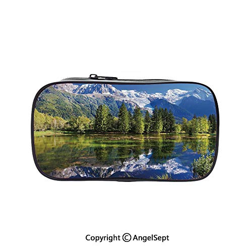 - Pencil Holder with Handle Strap Handy Colored,Snowy Mountains Evergreen Spruce Reflected in Lake City Park Chamonix France Blue Green White 5.1inches,Large Capacity Students Stationery