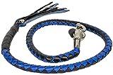 Dream Motorcycle 42'' Biker Old school leather get back whip Blk & Blue Braided Fringes