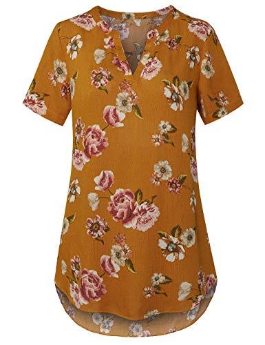 (EMVANV VNeck Blouses for Women,Hem Curved Short Sleeve Sheer Tunic Loose Shirt Elegant Tops Yellow)