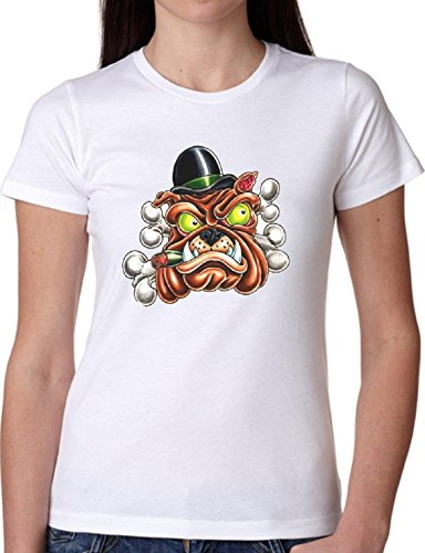 T SHIRT JODE GIRL GGG22 Z0074 DOG SMOKING HAT BOSS ANIMAL PET CARTOON FUNNY FASHION COOL BIANCA - WHITE XL