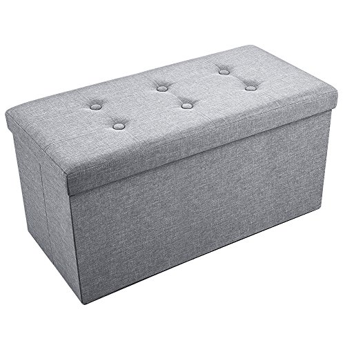 Sable Storage Ottoman Folding Bench with Highly Elastic Sponge Filling, Linen Foot Stool, Foldable Seat Bench & Footrest, Bed Bench, 30 x 15 x 15 in - Gray