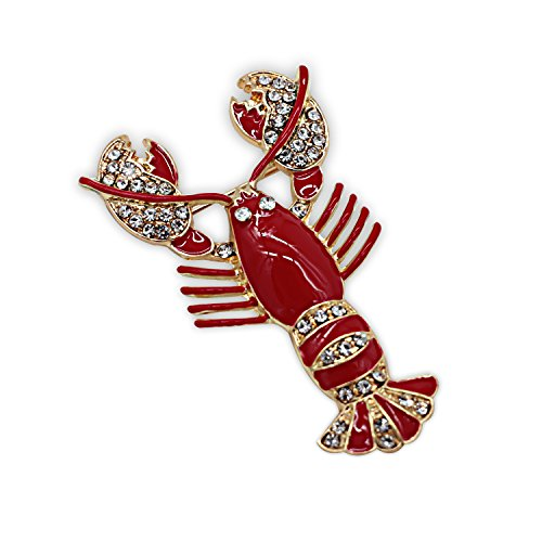 ZUOZUOYA Gold Tone Rhinestone Crystal Lobster Brooch With Gift Box - Designer Gold Tone Brooch
