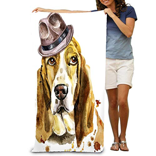 zexuandiy Premium Quality Large Beach Towel Pool Towel,Swim Towels for Bathroom,Gym,and Pool 31 in X51 in Watercolor Portrait Basset Hound Brown hat Cute Dog