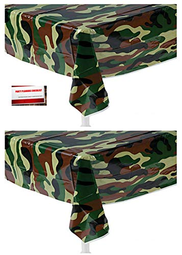 Camouflage Table Cover Plastic ((2 Pack) Camo OD Green Camouflage Military Army Marines Plastic Table Cover 54 X 108 Inches (Plus Party Planning Checklist by Mikes Super)