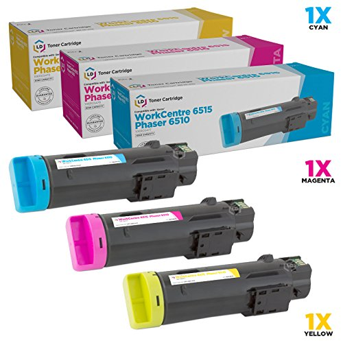 LD Compatible Toner Cartridge Replacement for Xerox Phaser 6510 & WorkCentre 6515 High Yield (Cyan, Magenta, Yellow, 3-Pack) ()
