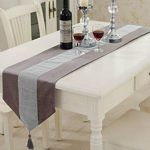 Almabner Table Runner,Diamond Beads Velvet Cover Decorative Table Runner for Dining Room,Hotel,Restaurant