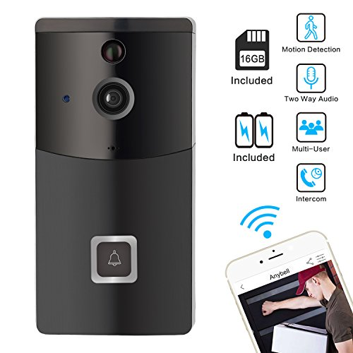 WiFi Video Doorbell, Wireless Smart Doorbell Camera, SOOCOO 720P HD Wifi Security Camera Real Time Video Two-Way Audio Intercom, PIR Motion Detection, Night Vision,Smart Monitor, 16G TF Card/2 Battery by SOOCOO