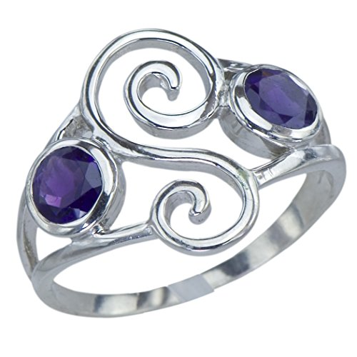 Unique Genuine Natural Amethyst Gemstone Sterling Silver Swirl Design Jewelry Womens Ring ()