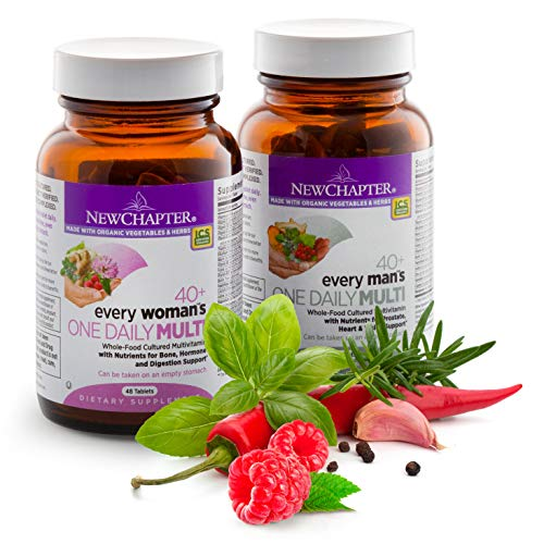 New Chapter 40+ One Daily multivitamin Bundle, Every Mans and Woman's 40 Plus One Daily Multivitamin Fermented with Probiotics + Vitamin D3 + B Vitamins + Organic Non-GMO Ingredients - 48ct