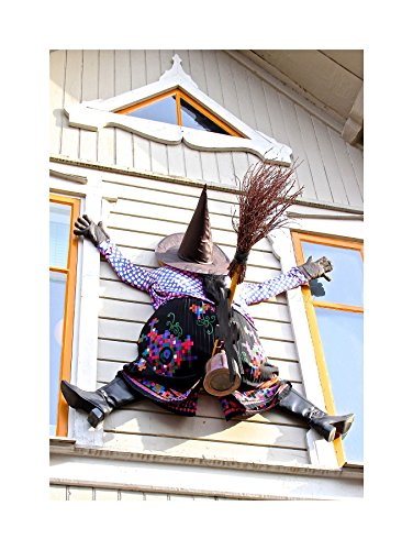 (The Art Stop Photo Fun Witch Halloween House Crash Window Print)