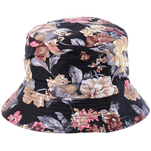 BYOS Fashion Packable Reversible Black Printed Fisherman Bucket Sun Hat, Many Patterns (Night Flower Black)